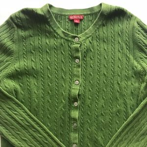 Merona Green Button Down Cable Knit Sweater